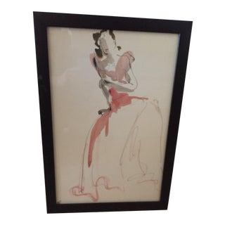 Hand Drawn Rose Gown Fashion Sketch