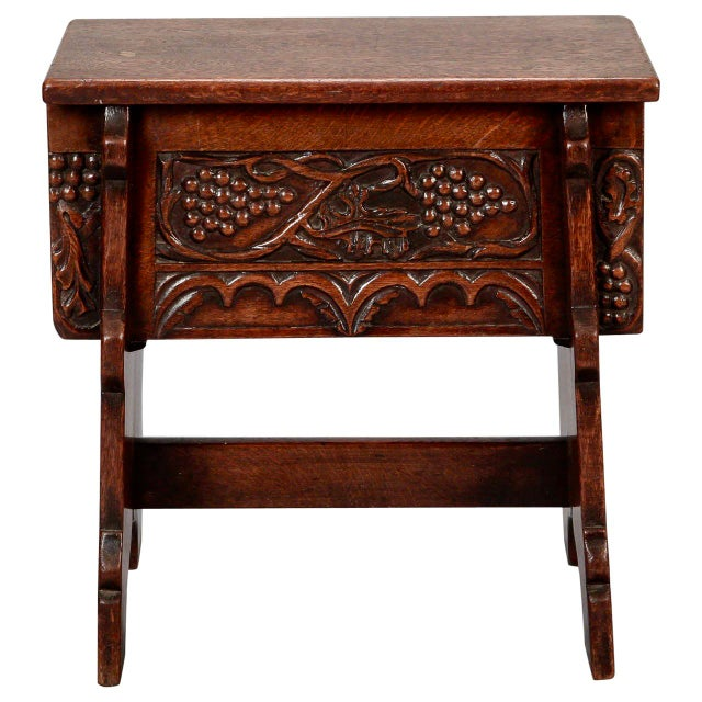 French Hand Carved Oak Stool with Grapes - Image 2 of 9