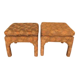 Upholstered Asian Style Pagoda Benches- a Pair