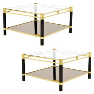 Vintage French Brass and Glass Side Tables - a Pair