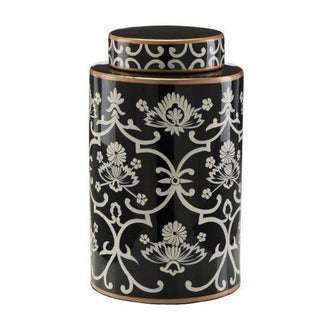 John Richard Floral Black & White Jar