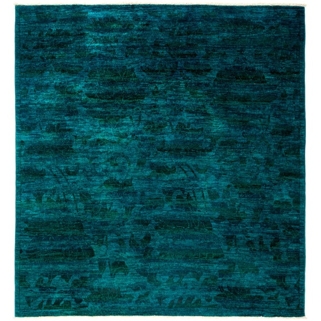 """New Blue Overdyed Hand-Knotted Rug - 6' 2"""" X 6' 7"""" - Image 1 of 3"""