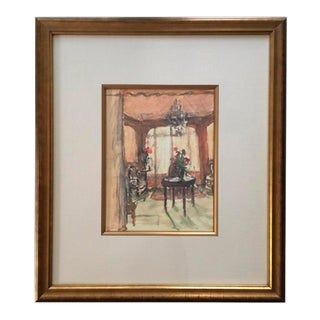 Framed Interior Room Scene Watercolor Painting