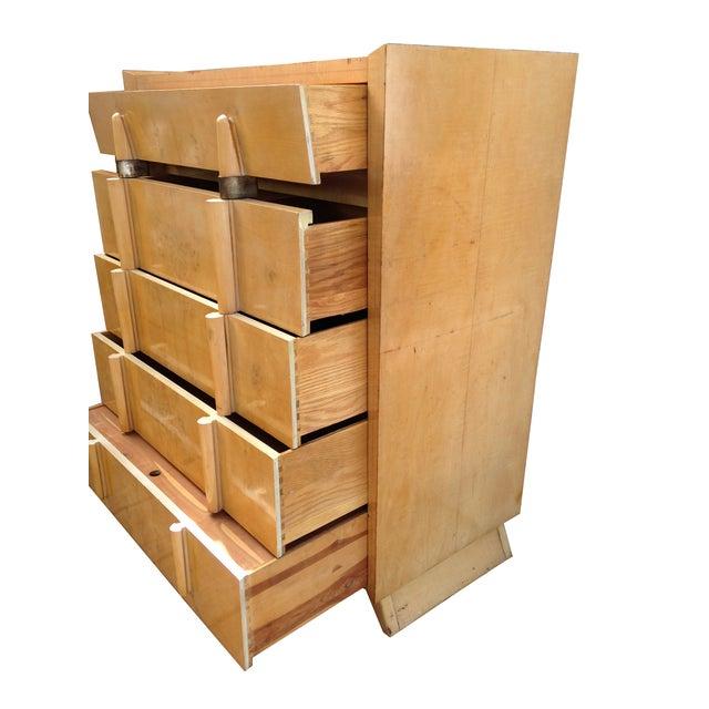 Mid Century Modern Burlwood Highboy Dresser - Image 3 of 5