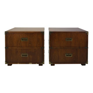Henredon Campaign Nighstands - A Pair