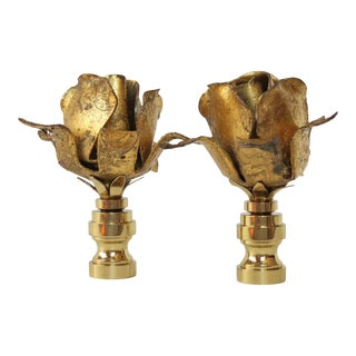 Vintage Italian Gold Leaf Tole Finials - A Pair