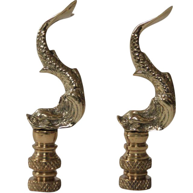 Image of Asian Brass Dolphin Finials - a Pair