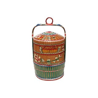 Asian-Style Hand-Painted Stacked Rice Basket