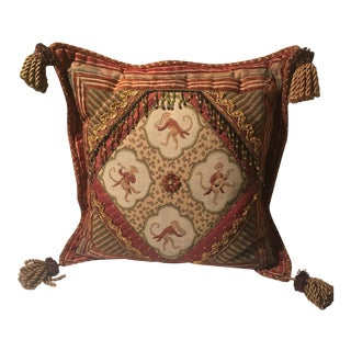 Vintage British & Indian Tapestry Monkey Pillow