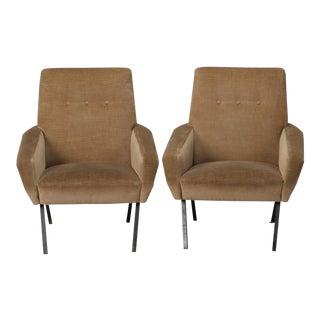 Pair Marco Zanuso Style Italian Mid Century Velvet Chairs