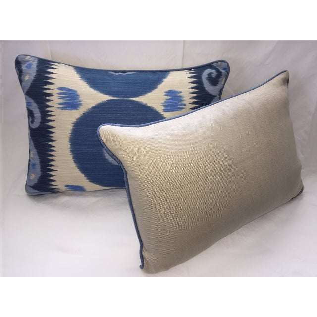 Emil Blue Ikat Pillows - A Pair - Image 4 of 4