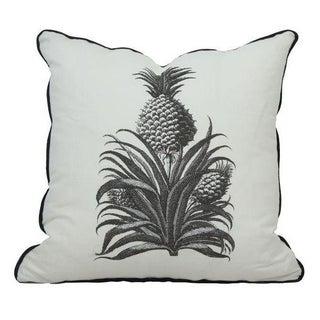 Black & White Throw Pillow with Pineapple Print