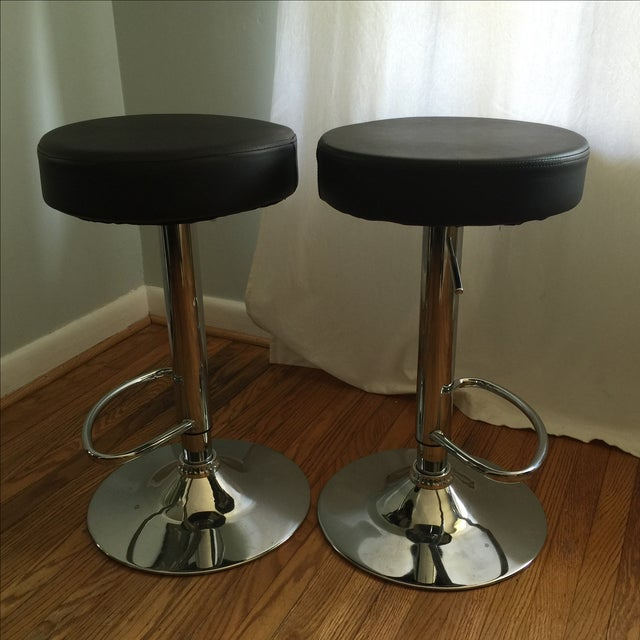 Leather & Chrome Adjustable Bar Stools - A Pair - Image 4 of 6