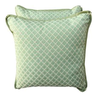 Custom Green Checked Pillows - Pair