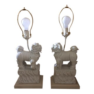 Foo Dog Blanc De Chine Table Lamps - A Pair