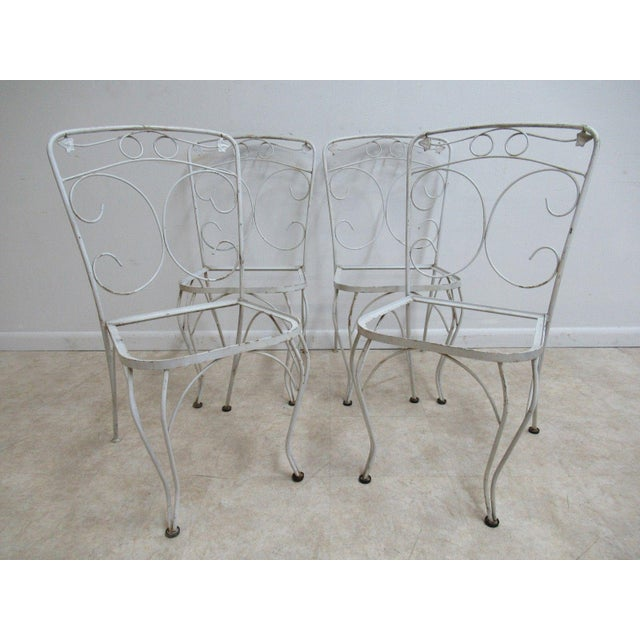 Vintage Woodard Ivy Iron Outdoor Patio Side Chairs - A Pair - Image 3 of 5