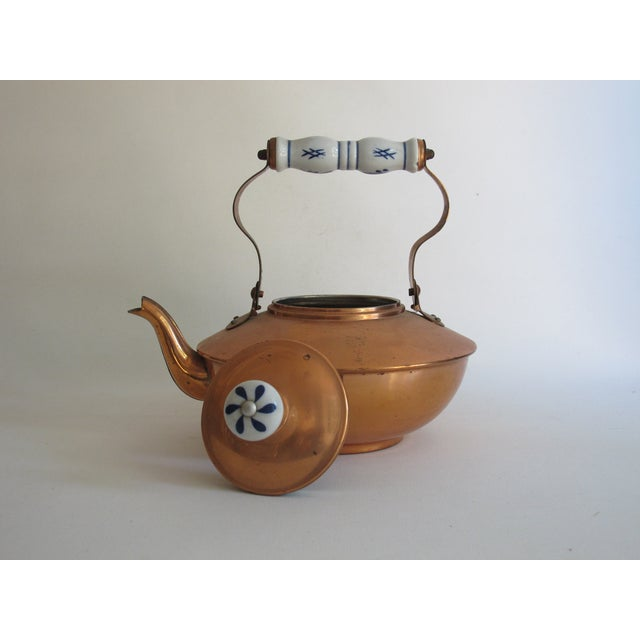 French Copper & Ceramic Teapot - Image 6 of 7