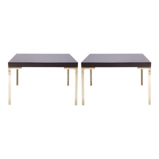 Astor Brass Occasional Tables in Walnut by Montage, Pair