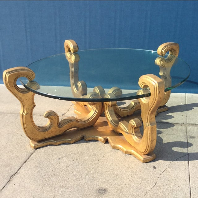 Hollywood Regency Glass Top Coffee Table - Image 3 of 8