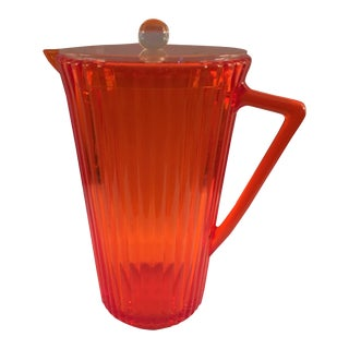 Vintage Orange Lucite Pitcher