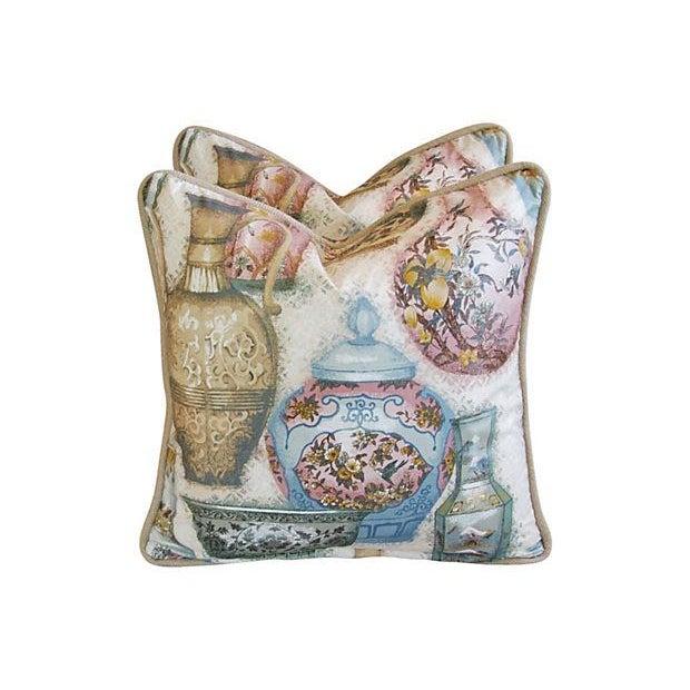 Custom Chinoiserie Vase Pillows - Pair - Image 3 of 7