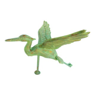 Verdigris Copper Flying Crane Weathervane