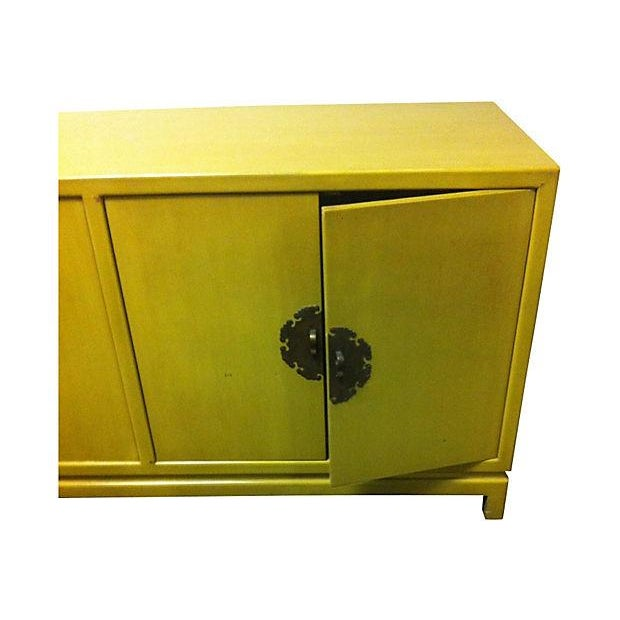 Chartreuse Asian Style Lacquered Credenza - Image 3 of 7