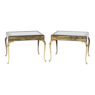 1970S BRASS AND ETCHED-BRONZE END TABLES BY BERNHARD ROHNE FOR MASTERCRAFT
