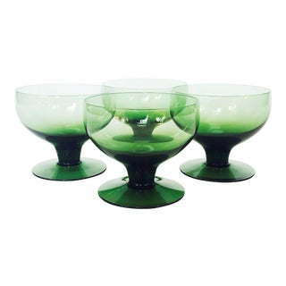 Mid-Century Green Coupe Cocktail Glasses - Set of 4