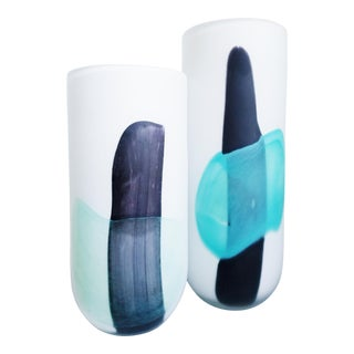 Modern Aqua & Black Brushstroke Vases - Set of 2