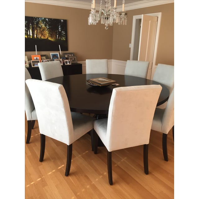 round custom made solid wood dining room table by j green design chairish. Black Bedroom Furniture Sets. Home Design Ideas