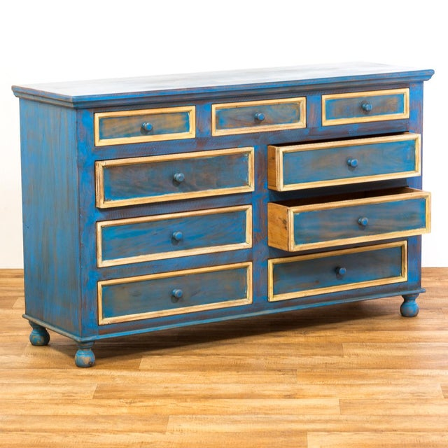 Reclaimed Solid Wood Distressed Blue Chest of Drawers/Dresser - Image 5 of 8