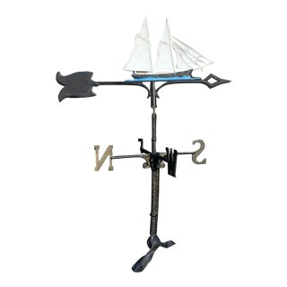 Iron Hand-Painted Clipper Sailboat Weathervane Circa 1950s