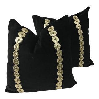 Black Cotton Velvet & Antique Down Pillows - A Pair