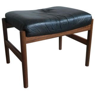 Spøttrup Danish Leather & Rosewood Footstool