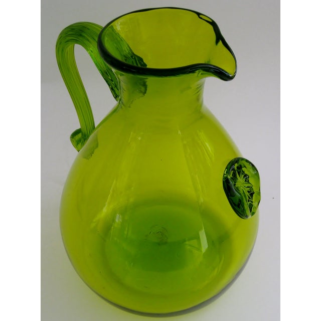 Green Glass Pitcher - Image 4 of 5