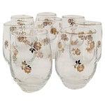 Image of Libbey's Gold Rimmed Flower Glasses - Set of 8