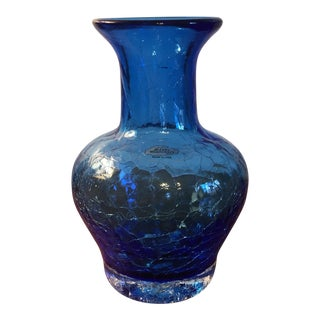 Blue Blenko Crackle Vase