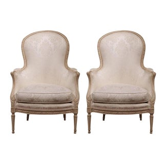 Mid-20th Century French Carved Louis XVI Painted Upholstered Armchairs - a Pair