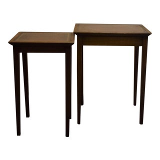 Leather Top English Stacking Side Tables - A Pair