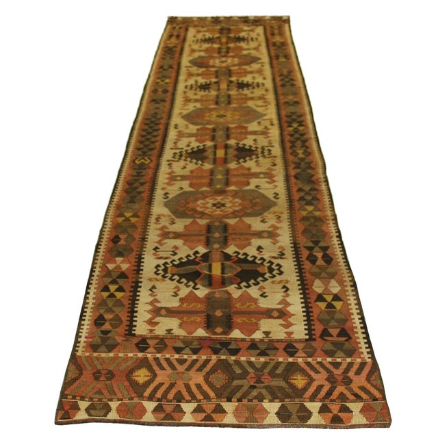 Vintage Turkish Kilim Kars Runner - 2'8 X 13'9 - Image 2 of 3