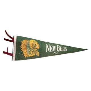 Vintage New Bern North Carolina Felt Flag