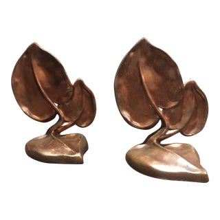 Metal Leaf Bookends - A Pair