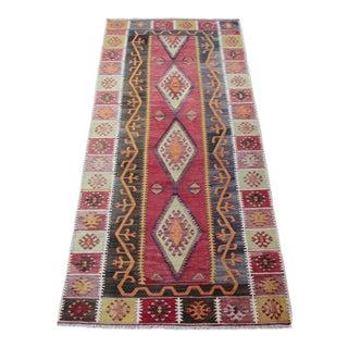 """Anatolian Turkish Wool Vintage Kilim Rug - 7'4"""" x 3'3"""""""