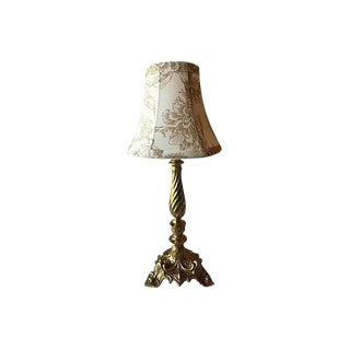 Gustavian Style Solid Brass Lamp With Cream Floral Shade