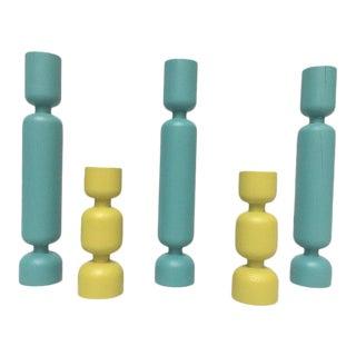 Danish Modern Teal & Yellow Turned Wood Candleholders - Set of 5