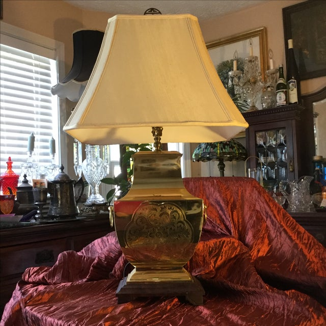 Mid-Century Modern Asian Brass Table Lamp - Image 5 of 11