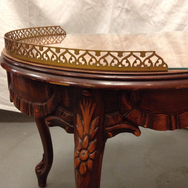 Antique Italian Inlaid Coffee Table With Brass Edges