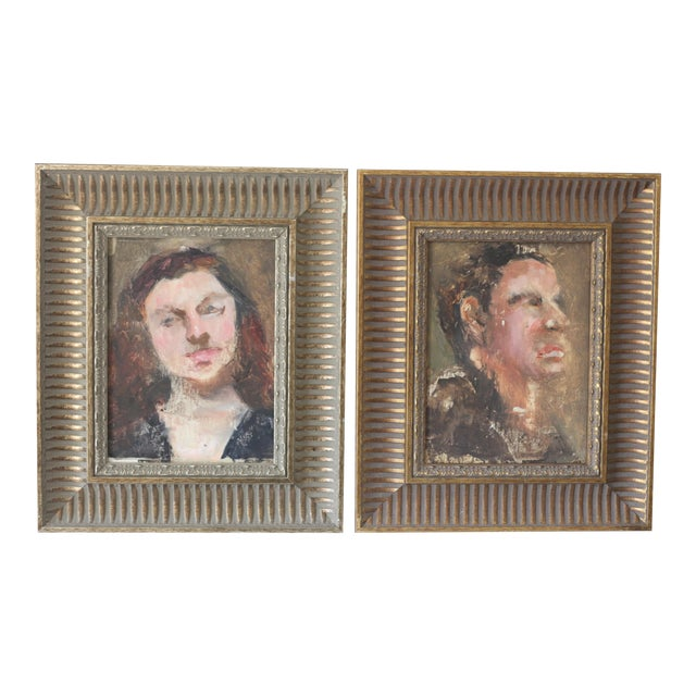 Man and Woman Portrait Paintings - A Pair - Image 1 of 6