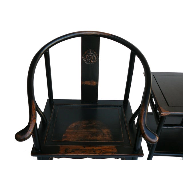 Chinese Black Lacquer Elm Armchairs & Side Table - Image 6 of 6